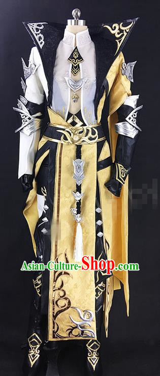 Chinese Ancient Drama Cosplay Royal Highness Yellow Clothing Traditional Hanfu Swordsman Costume for Men