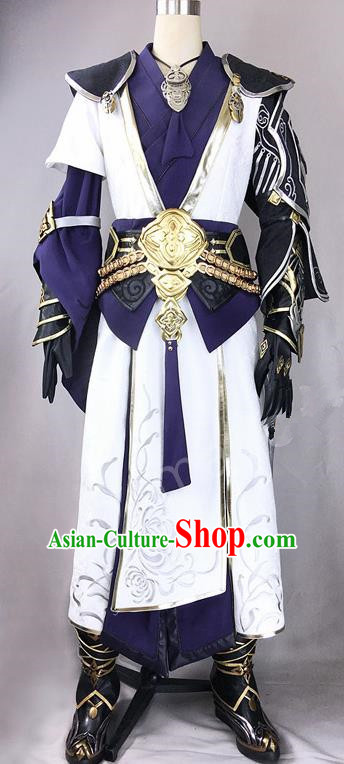 Chinese Ancient Drama Cosplay Royal Highness General White Clothing Traditional Hanfu Swordsman Costume for Men