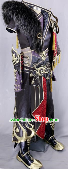 Chinese Ancient Drama Cosplay Young General Knight Black Armor Clothing Traditional Hanfu Swordsman Costume for Men