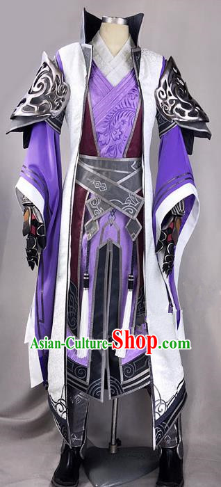 Chinese Ancient Drama Cosplay Royal Highness Purple Clothing Traditional Hanfu Swordsman Costume for Men