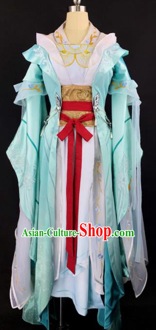 Chinese Ancient Cosplay Imperial Consort Green Dress Traditional Hanfu Female Swordsman Costume for Women