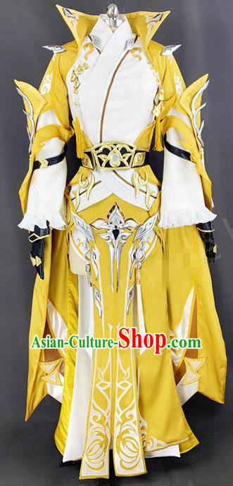 Chinese Ancient Drama Cosplay King Young Knight Yellow Clothing Traditional Hanfu Swordsman Costume for Men