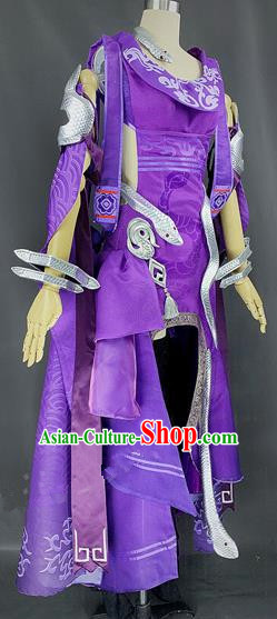 Chinese Ancient Cosplay Young Heroine Purple Dress Traditional Hanfu Female Swordsman Costume for Women