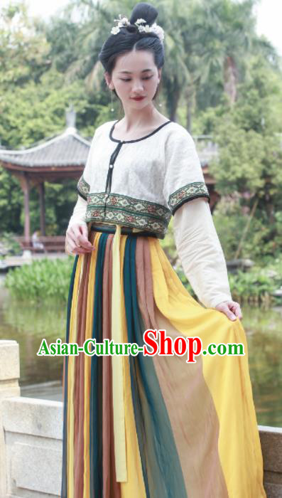 Chinese Traditional Tang Dynasty Replica Costumes Ancient Court Maidservants Hanfu Dress for Women