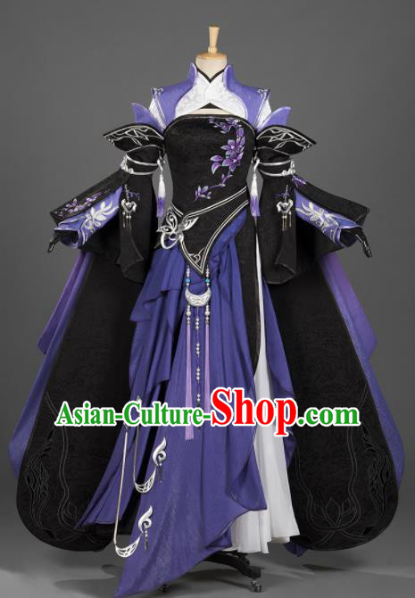 Chinese Ancient Cosplay Fairy Female Knight Purple Dress Traditional Hanfu Princess Swordsman Costume for Women