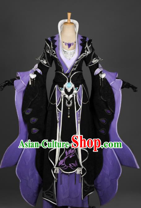 Chinese Ancient Cosplay Fairy Queen Purple Dress Traditional Hanfu Female Knight Swordsman Costume for Women