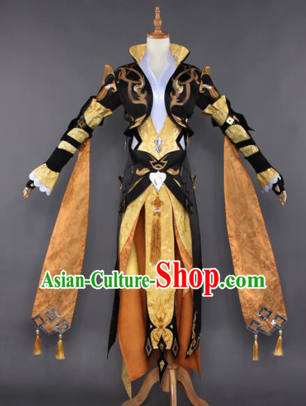 Chinese Ancient Cosplay Taoist Nun Female Knight Golden Dress Traditional Hanfu Princess Swordsman Costume for Women