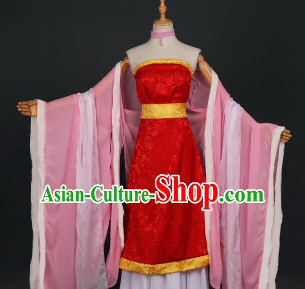 Chinese Ancient Cosplay Game Fairy Knight Red Dress Traditional Hanfu Princess Swordsman Costume for Women