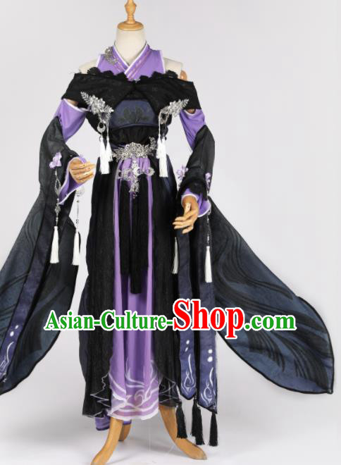 Chinese Ancient Cosplay Game Fairy Princess Purple Dress Traditional Hanfu Swordsman Costume for Women