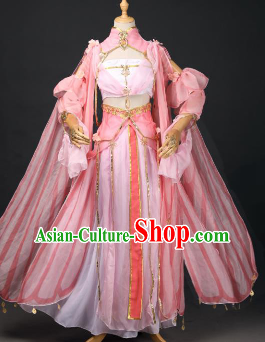 Chinese Ancient Cosplay Game Fairy Princess Pink Dress Traditional Hanfu Swordsman Costume for Women