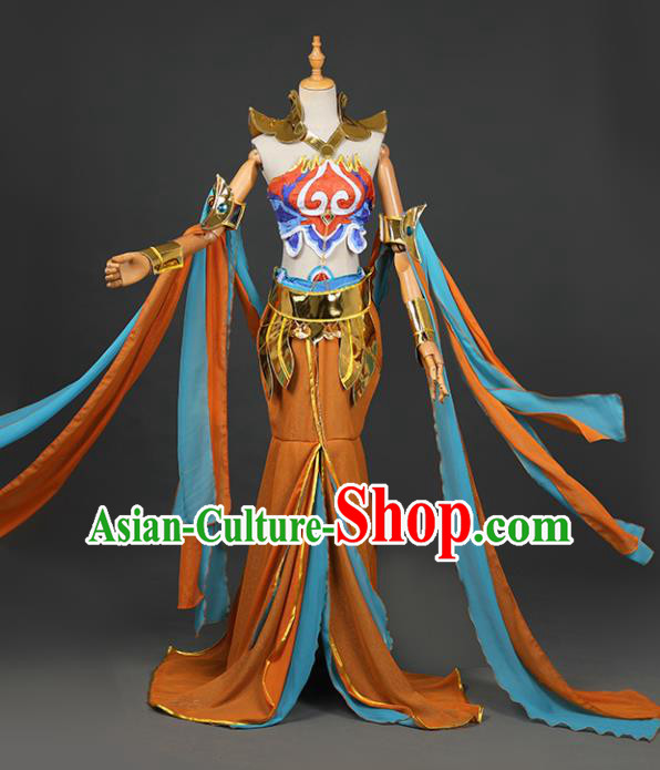 Chinese Ancient Cosplay Fairy Swordsman Orange Dress Traditional Hanfu Princess Costume for Women