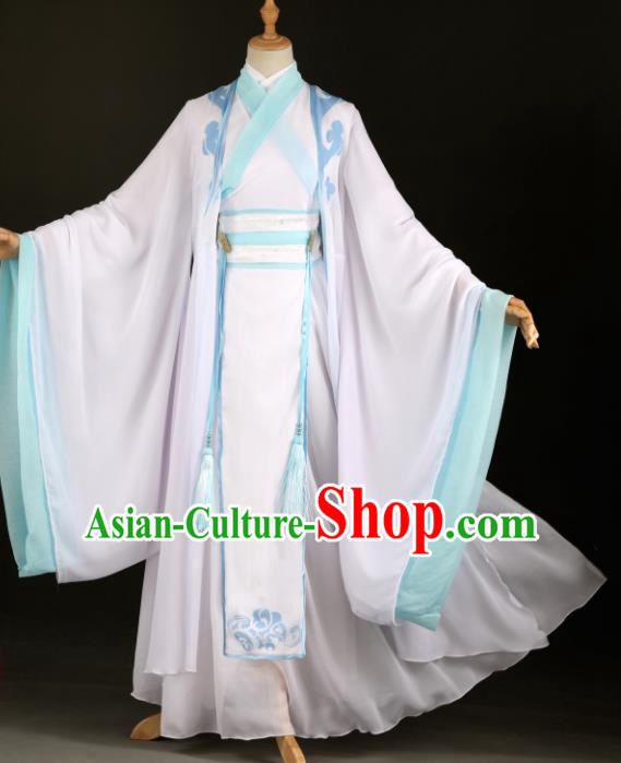 Chinese Ancient Drama Cosplay Young Knight Childe White Clothing Traditional Hanfu Swordsman Costume for Men