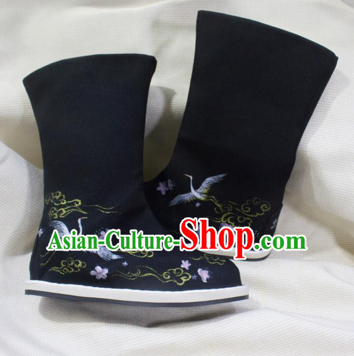 Asian Chinese Ancient Taoist Priest Embroidered Cranes Shoes Swordsman Black Boots Traditional Hanfu Shoes for Men