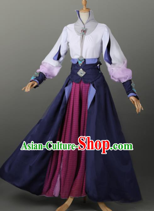 Chinese Ancient Cosplay Court Lady Navy Dress Traditional Hanfu Swordsman Costume for Women