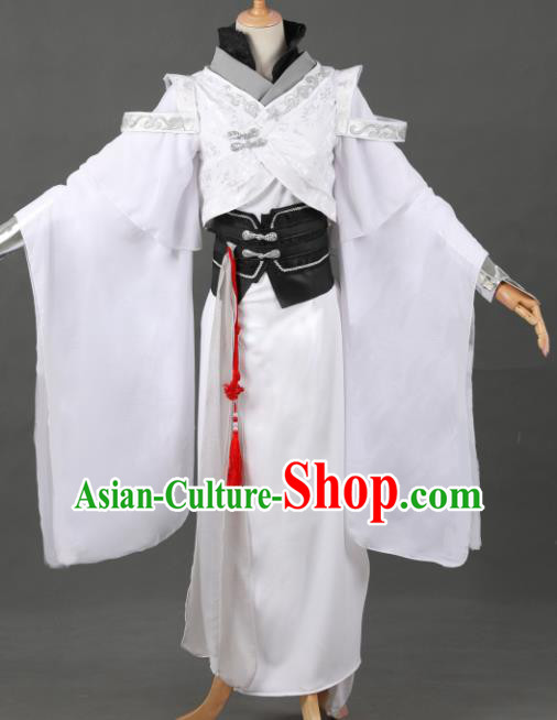 Chinese Ancient Drama Cosplay Young Knight Royal Prince White Clothing Traditional Hanfu Swordsman Costume for Men
