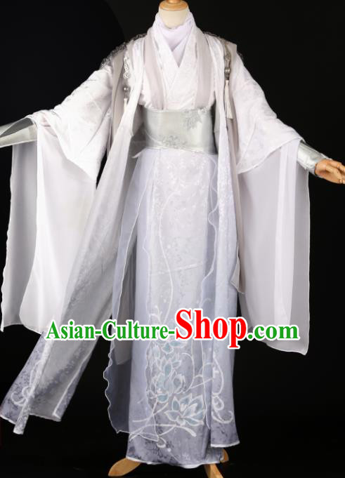 Chinese Ancient Drama Cosplay Royal Prince Knight White Clothing Traditional Hanfu Swordsman Costume for Men