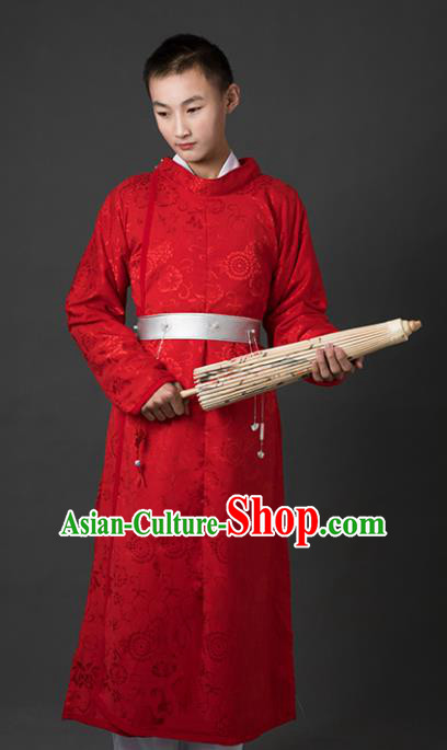 Chinese Ancient Drama Cosplay Imperial Bodyguard Red Clothing Traditional Hanfu Swordsman Costume for Men