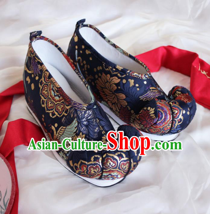 Asian Chinese Traditional Embroidered Shoes Ancient Princess Navy Shoes Hanfu Shoes for Women