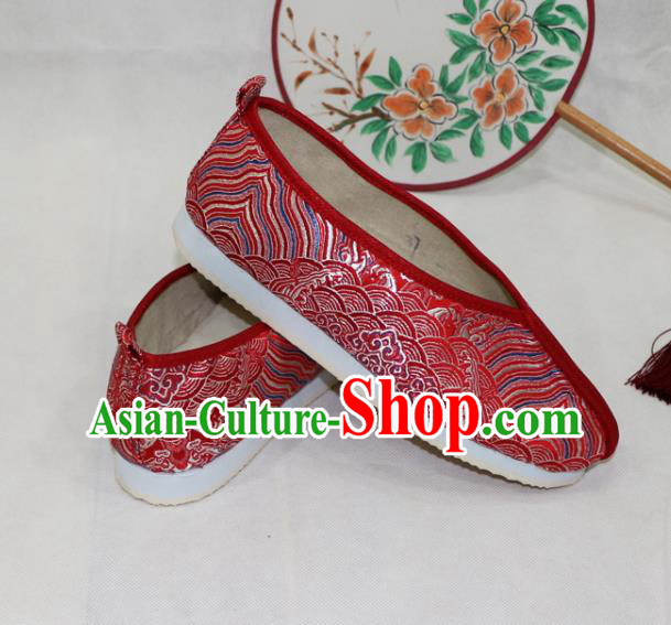 Asian Chinese Traditional Red Blood Stained Shoes Ancient Princess Wedding Shoes Hanfu Shoes for Women