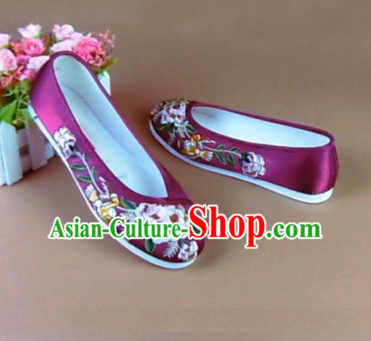 Asian Chinese National Embroidered Peony Purple Shoes Ancient Princess Satin Shoes Traditional Hanfu Shoes for Women