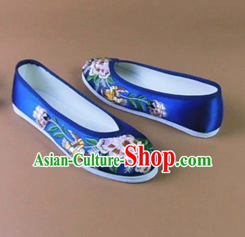 Asian Chinese National Embroidered Peony Royalblue Shoes Ancient Princess Satin Shoes Traditional Hanfu Shoes for Women
