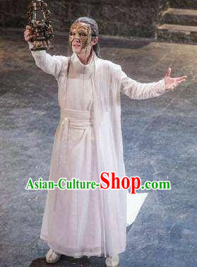 Chinese Ancient Cosplay Swordsman White Clothing Custom Traditional Nobility Childe Prince Costume for Men