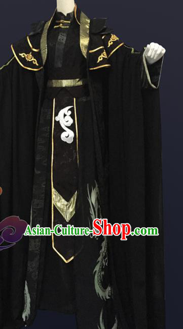 Custom Chinese Ancient Cosplay Knight Taoist Priest Black Clothing Traditional Swordsman Royal Highness Costume for Men