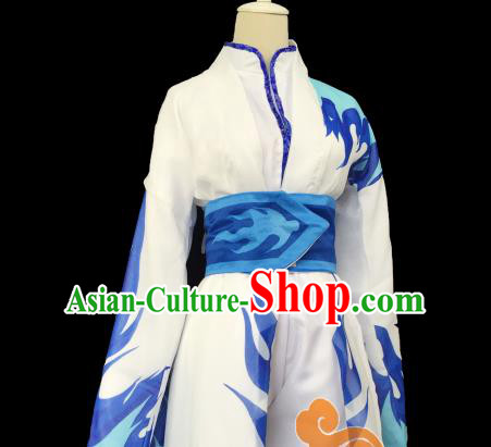 Chinese Traditional Cosplay Female Knight Heroine Blue Dress Ancient Swordswoman Costume for Women
