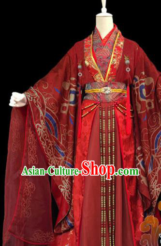 Traditional Chinese Cosplay Female Knight Heroine Wedding Red Dress Ancient Swordswoman Costume for Women