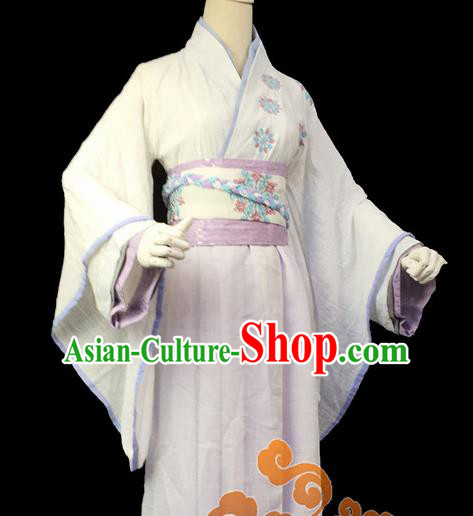 Traditional Chinese Cosplay Female Knight White Dress Ancient Swordswoman Costume for Women