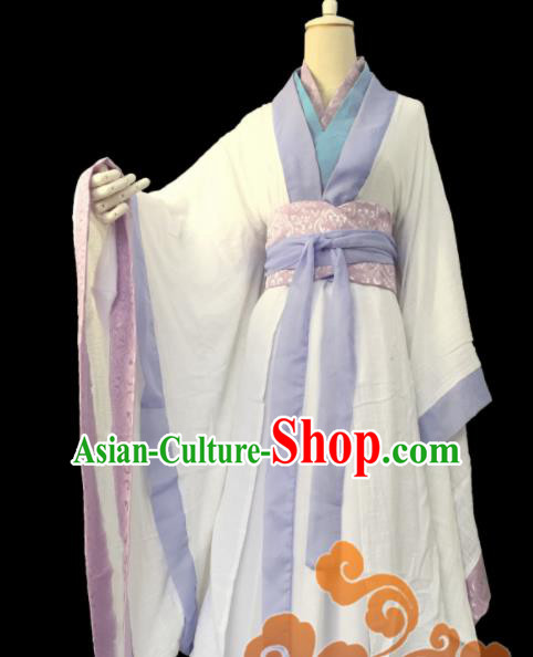 Traditional Chinese Cosplay Taoist Nun Princess White Dress Ancient Swordswoman Costume for Women