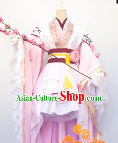Chinese Traditional Cosplay Fairy Princess Pink Dress Custom Ancient Qin Dynasty Swordswoman Princess Costume for Women