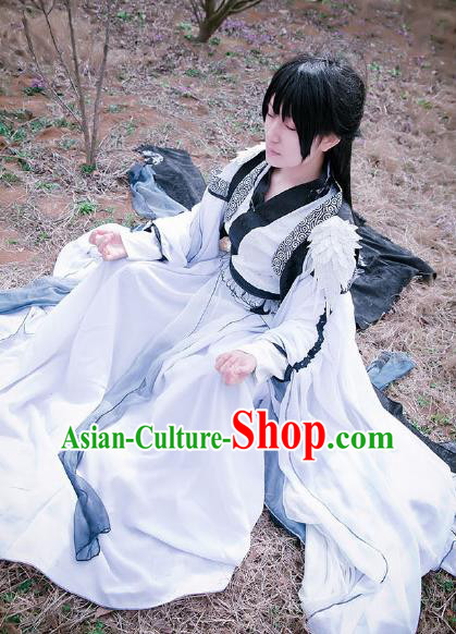 Custom Chinese Ancient King Young Knight White Clothing Traditional Cosplay Swordsman Costume for Men