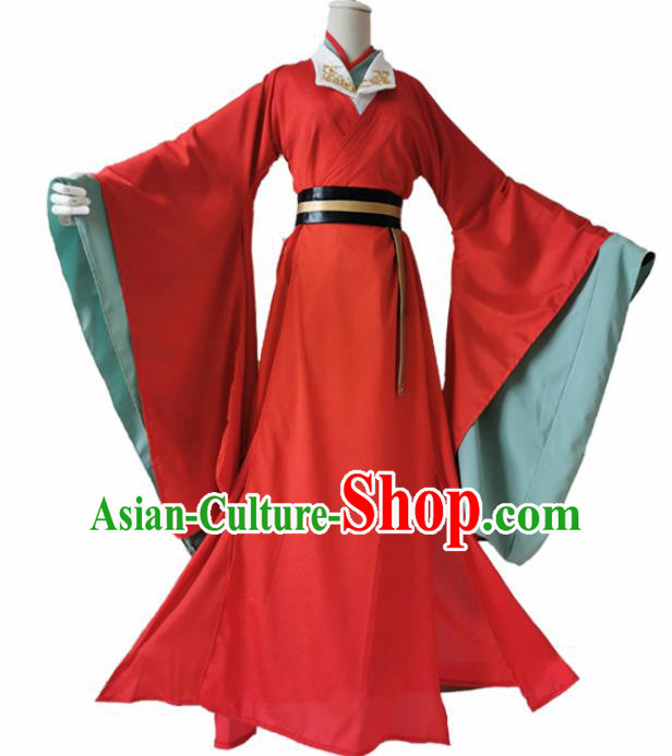 Chinese Ancient Cosplay Swordsman Red Clothing Custom Traditional Royal Prince Costume for Men