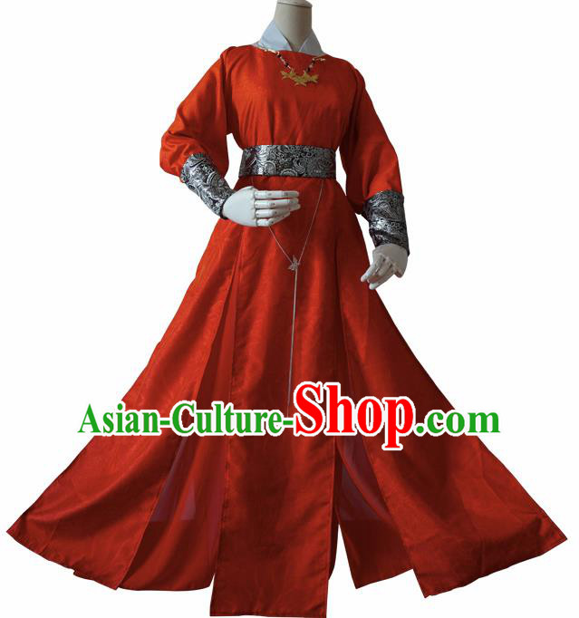 Chinese Ancient Cosplay Imperial Bodyguard Swordsman Red Clothing Custom Traditional Royal Prince Costume for Men