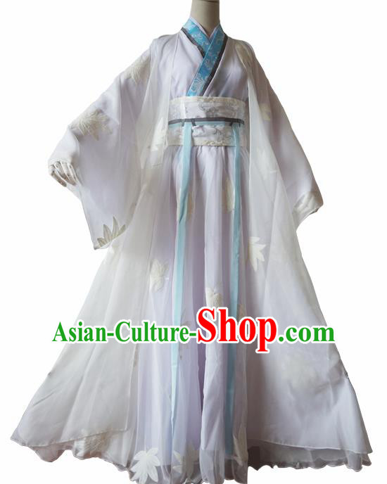 Chinese Traditional Cosplay Swordswoman White Dress Custom Ancient Madam White Snake Costume for Women