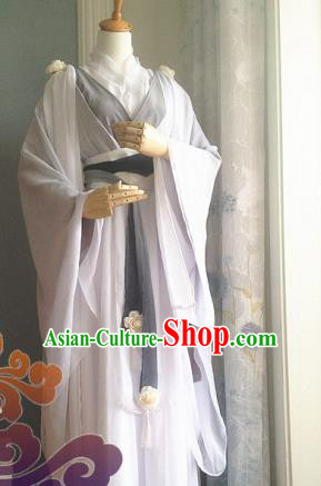 Traditional Chinese Cosplay Female Assassin White Dress Ancient Court Lady Swordswoman Wedding Costume for Women