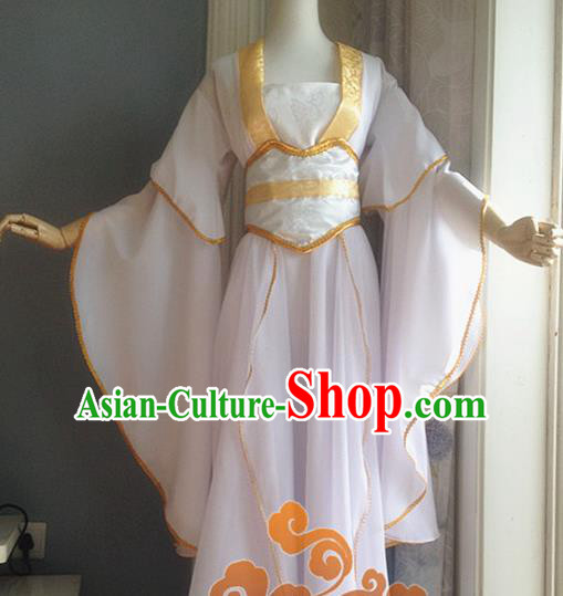 Traditional Chinese Cosplay Fairy White Dress Ancient Court Lady Swordswoman Wedding Costume for Women