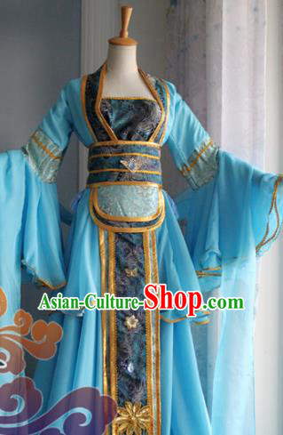 Traditional Chinese Cosplay Fairy Court Maid Blue Dress Ancient Swordswoman Costume for Women