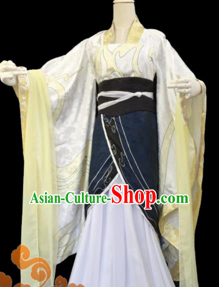 Traditional Chinese Cosplay Fairy Court Queen Yellow Dress Ancient Swordswoman Costume for Women