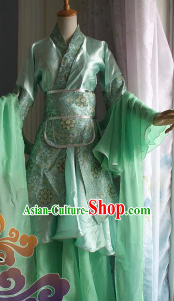 Traditional Chinese Cosplay Fairy Court Lady Green Dress Ancient Swordswoman Costume for Women