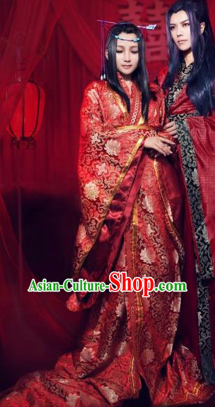 Traditional Chinese Cosplay Fairy Court Queen Red Dress Ancient Bride Swordswoman Wedding Costume for Women