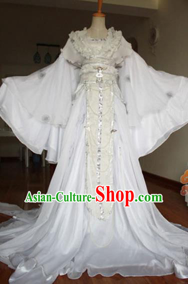 Traditional Chinese Cosplay Goddess Imperial Consort White Dress Ancient Fairy Swordswoman Costume for Women