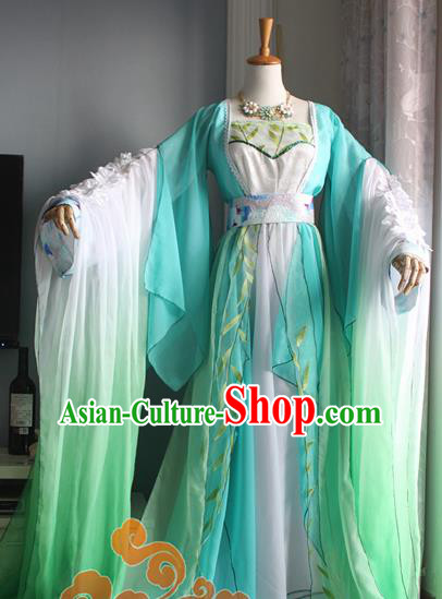 Traditional Chinese Cosplay Princess Consort Green Dress Ancient Court Lady Swordswoman Costume for Women