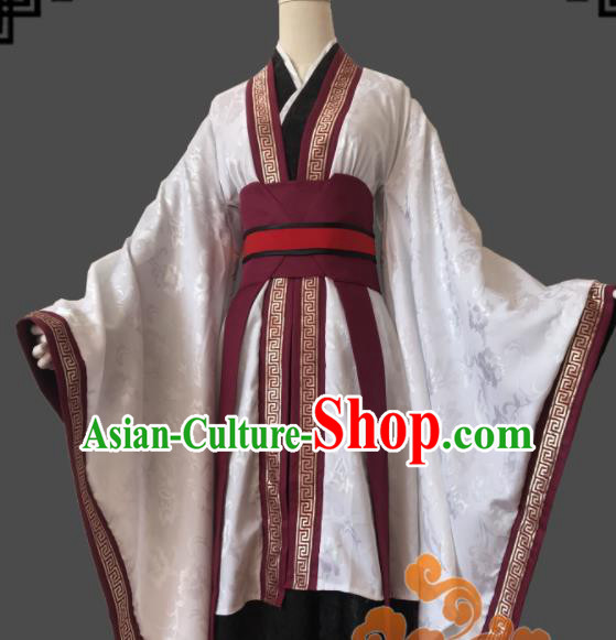 Traditional Chinese Cosplay Goddess White Dress Ancient Fairy Swordswoman Costume for Women