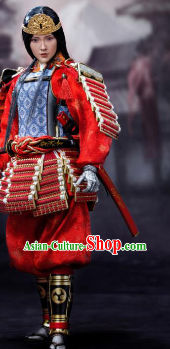 Japanese Ancient Female General Armor Traditional Asian Japan Samurai Red Costumes Complete Set for Women