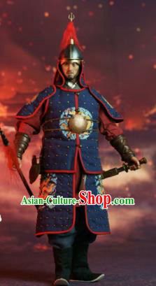 Chinese Ancient Soldier Armor and Helmet Traditional Ming Dynasty Military Officer Costumes Complete Set for Men