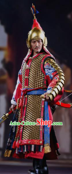 Chinese Ancient General Red Armor and Helmet Traditional Han Dynasty Military Officer Costumes Complete Set for Men