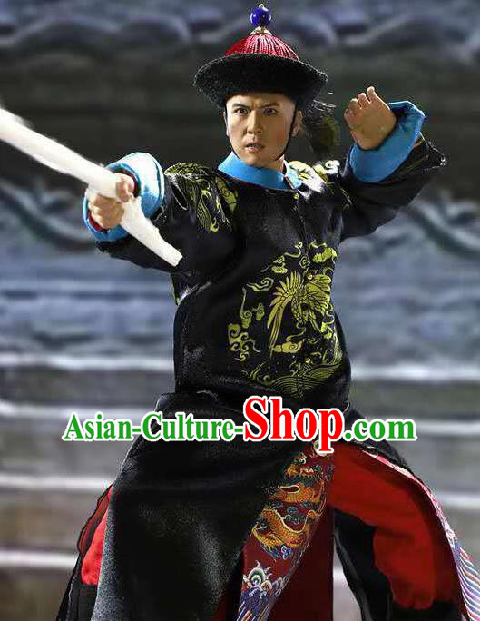 Chinese Ancient Minister Clothing Traditional Qing Dynasty Admiral Costumes and Hat Complete Set for Men