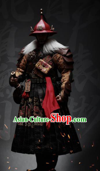 Chinese Ancient Cosplay Blades Armor and Helmet Traditional Ming Dynasty Imperial Bodyguard Costumes Complete Set for Men